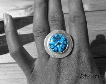 """Blue pole"" polymer clay and silver ring"