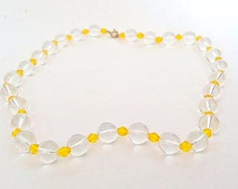 Pools Of Light Necklace Quartz Crystal beads Rock Crystal Beaded Choker Clear Yellow Wedding UK