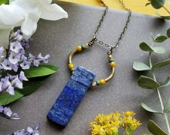 Lapis Loop Necklace in Brass >> Deep Blue Lapis Lazuli with Olive Green and Golden Yellow Accents >> Boho Style, Gemstone Jewelry