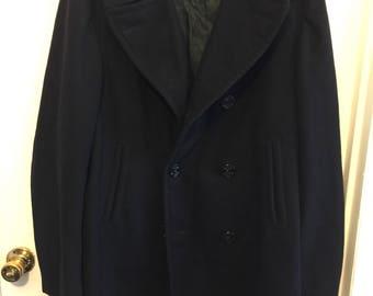 Vintage Mens Military Dress Wool Overcoat 40L