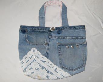 Jean Purse, Blue Jean Denim Purse, Upcycled Jean Purse, Lined Denim Handbag, Doily Jean Purse