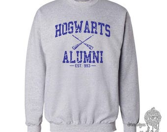 Hgwrts Alumni #1 Blue print on Crew neck Sweatshirt