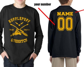 CHASER - Custom Back, Huffle Quidditch Team Chaser on YOUTH Long Sleeves tee Gildan 2400B