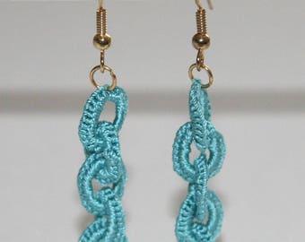 Blue silk crochet earrings