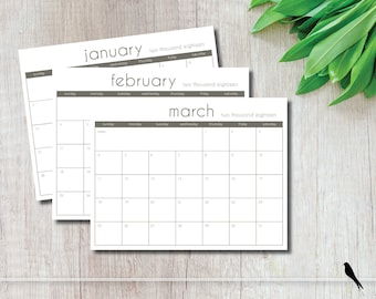 2018 Printable Wall Calendar - Modern Taupe 12 Month Appointment Planner - Office, Home Wall Calendar - Instant Download Calendar