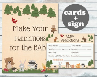 Woodland Baby Prediction Printable, Baby Shower Prediction Cards, Woodland Predictions For Baby, Birth Weight Guess Cards, Woodland Shower