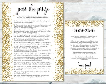 Pass The Prize Bridal Shower Game, Pass The Parcel Rhyme Printable, Gold Confetti Bridal Shower Game, Pass The Centerpiece, Gold Glitter