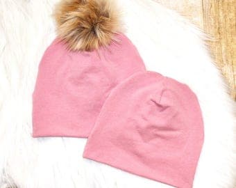 Dusty Rose Pom Beanie // Pink Beanie // Baby Beanie // Toddler Beanie // Newborn Beanie // Pink Baby Beanie // Winter Cold Weather Hat