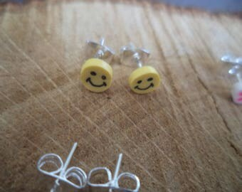 Earrings Silver earrings with Fimo smiley