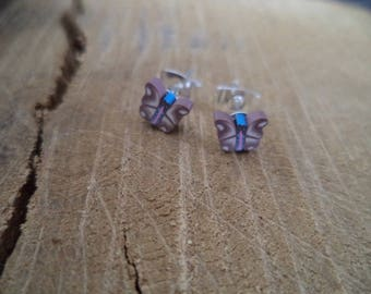 Earrings Silver earrings with butterfly Fimo