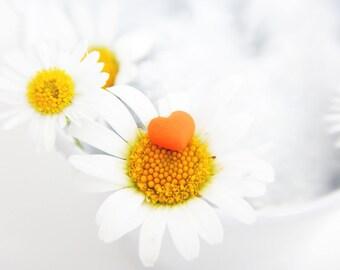 Mini heart shaped earrings red, pink, Orange and white-nickel-free, hypoallergenic-Minimal
