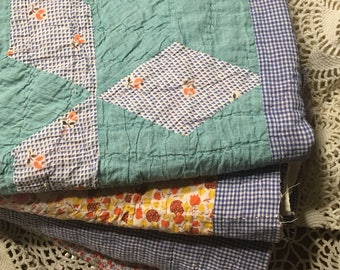 Blue Patchwork Quilt Layer/ Boy Quilt Layer/ Patchwork Cutter Quilt Piece