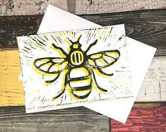 Manchester Bee Postcard, Manchester 3 Lino Print Postcard, Manchester Bee Print, Lino Print Post Card
