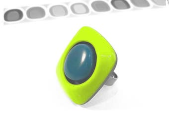 Green and blue polymer clay ring