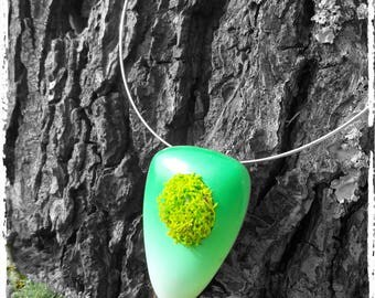 Gradient green lichen and polymer clay necklace