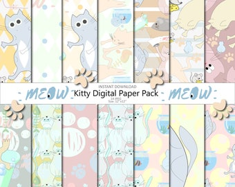 Meow kitty paper pack Cats papers Digital paper Digital paper commercial use Seamless pattern Sweet kittens Scrapbook paper Invitation Blog