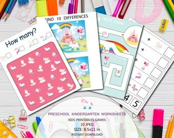 Spring unicorns games, Kids printable games, Unicorn kids games, Preschool kids worksheet, Preschool-Kindergarten Worksheets Activities Game