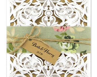 SAMPLE * Rustic Laser Cut Farrah with Belly Band Wedding Invitation