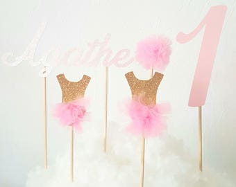 set of 5 toppers for dancer birthday - pink and gold glitter and pink tulle - 2 dancers + 1 + 1 name tulle Pompom