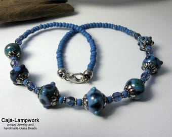 jeans blue lampwork necklace short discreet