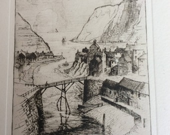 Antique etching Staithes T Waghorn