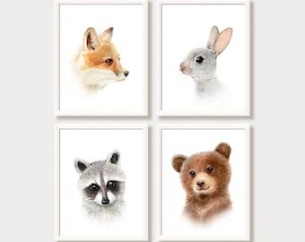 Woodland Animal Portraits Baby Animal Prints Set of 4 Nursery Wall Art Baby Room Decor Pictures for Nursery Forest Rabbit Bear Fox Raccoon