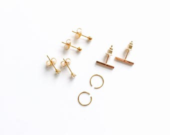 PROMO set of 4 pairs tiny earrings, silver bar, tiny diamond stud, small silver hoop