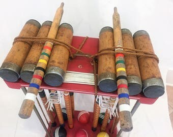 Vintage Croquet Set South Bend Toy