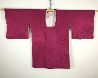 D698 Vintage Japanese Haori Kimono Womens Silk Cardigan Jacket