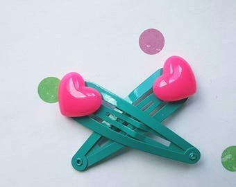 Girls hair clips - hot pink hearts on teal clips 2pk