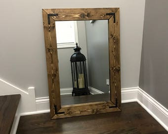 Mirror, Wood Frame Mirror, Handmade Rustic Wood Mirror, Bathroom Mirror,  Framed Wall