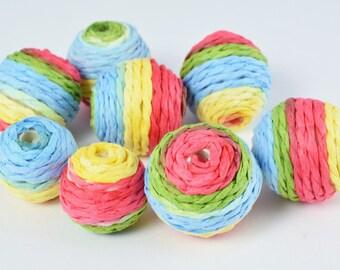 M/L Bon Bon Beads Multi-Color Crispin Round Beads/Crochet Beads/Wholesale Bead /Wrapped Plastic Bead /Ball Bead, Big Hole/ Wrapped Beads,