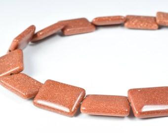 14x18mm Rectangle Sandstone Gemstone Beads 1 strand 22PCs/Hole Size 1.5mm Natural, healing, chakra, birthstone for Jewelry Making