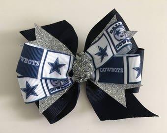 Dallas Cowboys Hair Bow Dallas Cowboys Bow Cowboys Bow with Dallas Cowboys Logo Blue and Silver Hair Bow Cowboys Football Bow