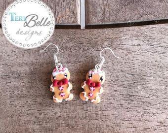 Scented Polymer Clay Gingerbread man Christmas Cookie Earrings