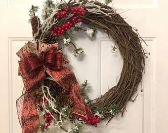 Rustic Christmas Wreath, Red Berry Wreath, Beautiful Christmas Wreath