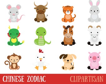 Chinese Zodiac Animals Clipart | Chinese New Year Clip Art