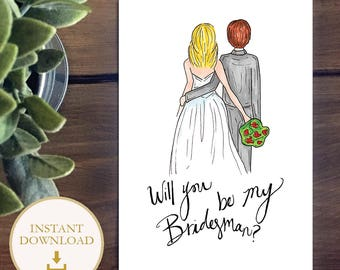 PDF BridesMAN drawing - Blonde Bride with Brunette Bridesman - will you be my bridesman? Bridesmaid proposal illustration, instant download