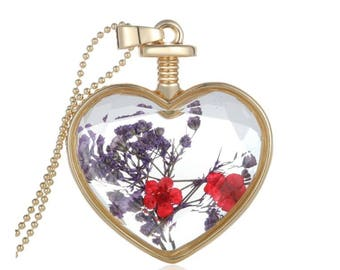 Real dried flower heart shaped necklace