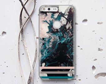Black Marble Phone Case Google Pixel Case Clear Phone Cover Huawei P9 Lite Case Transparent Plastic Case HTC 10 Cover Google Pixel XL 115