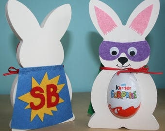Super hero Easter bunny kinder egg holder, Easter egg holder, boy or girl gift