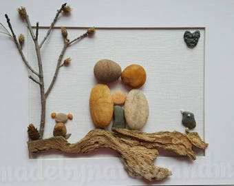 Unique family pebble art,  Family of three with dog ,  personalized family gift,  family housewarming gift , Father's day gift