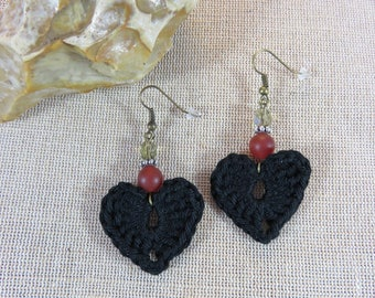 Earrings Gothic, heart earrings black cotton crochet textile jewelry, heart earrings, jewelry beads faceted