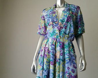 80s Floral Dress | Summer Dress | Midi Dress | Rayon Dress | Vintage Dress | Flower Dress | Spring Dress | Watercolors | Made in the USA