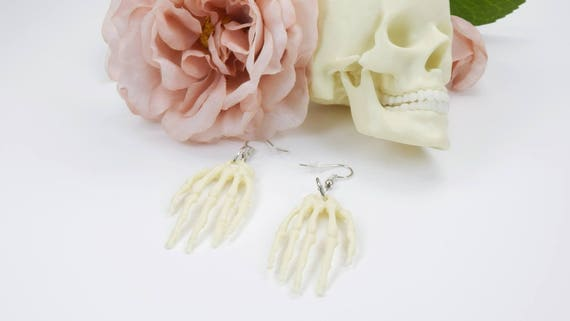 Earrings bone Hand hands halloween earrings in beige white on silvery earrings pendant earrings Gothic bone horror