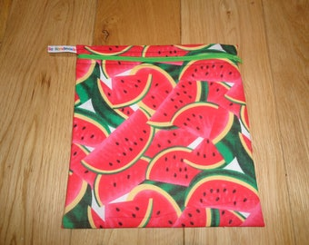 Sandwich bag  - Baggie - Eco - Snack Bag - Bikini Bag - Lunch Bag - Tool Bag - Large Poppins Waterproof Lined Zip Pouch - Water Melon Fabric