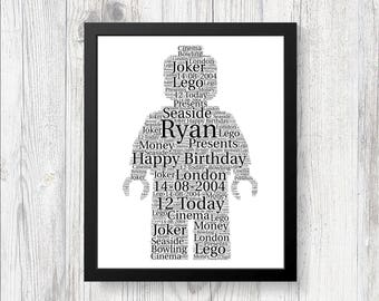 Personalised Lego Man Word Art Print Gift Birthday Fathers Day Christmas Perfect for Son Daughter Mom Dad Great Gift Idea