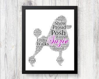 Personalised Pedigree POODLE Word Art Print Gift Keepsake Perfect for Birthdays, Christmas, Memorials