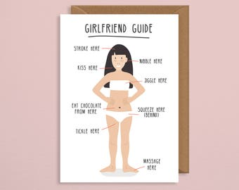 girlfriend guide valentines card. squeeze here. serenade here. valentine card him. Valentines card for boyfriend. bf card. valentines card