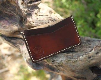Ultra Slim Card Wallet- Dark Brown & Cream stitching